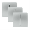 Trendi 1 Gang 2 Way Artistic Modern Glossy 10 Amp Rocker Tactile Light Switch Silver (3 Pack)